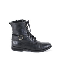 Lace Up Flat Boots Military Boots Black Soft Leather Army Combat Boots Womens Size 9.5