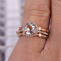 3pcs Morganite Bridal Ring Set,Engagement ring Rose gold,Diamond wedding band,14k,7mm Round Cut,Gemstone Promise Ring,Pave Set,Art Deco Ring