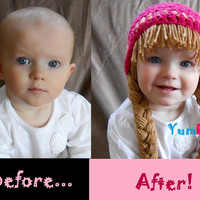 READY TO SHIP- 2t -  Baby Hat Cabbage Patch Hat Pigtail WIg Costume Photo Props Halloween costume