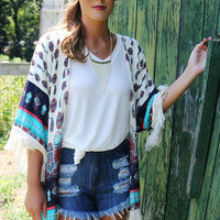Oceanfront Towns Paisley & Moroccan Print Fringe Kimono