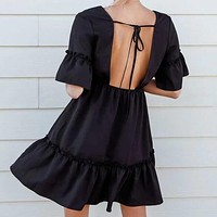 Tie Back Bell Sleeve Ruffle Hem Dress