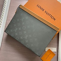 LV Louis Vuitton MEN'S MONOGRAM CANVAS Pochette Voyage HAND BAG WALLET