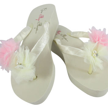 Wedding Flip Flops- Pink and Ivory Flowers- Wedge Heels- Choose Platform Height
