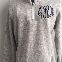 Monogrammed Pullover HEATHERED Oatmeal Fleece Sweater - Personalized 1/4 zip sweater, custom heathered gray, womens warm fuzzy pullovers