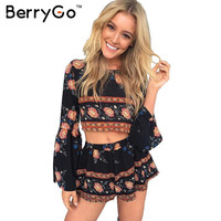 BerryGo Fashion boho print elegant jumpsuit romper Summer beach backless sexy playsuit Women two piece floral short overalls