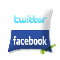 Twitter Facebook Square Pillow Cover