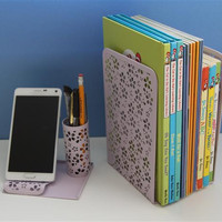 Metal Desk Organizer Set - Book and Magazine Ends, Pencil stand with Phone Rest