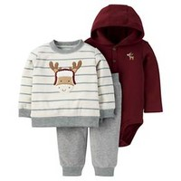 Baby Boys' 3 Piece Striped Moose Sweatshirt Set Grey/Cream/Burgundy - Just One You™Made by Carter's®