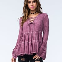 Sea Gypsies Vagabond Womens Lace Up Top Burgundy  In Sizes