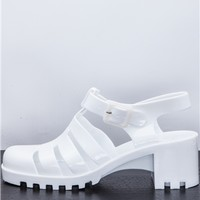 Cece White Heeled Jelly Sandal at misspap.co.uk