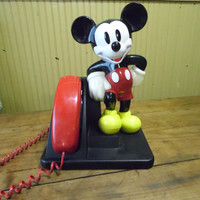 FREE SHIPPING - Mickey Mouse Phone/Disney Phone/Vintage Phone/Retro Phone/Dial Phone