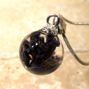 Lavender Necklace, Sphere pendant, plant jewelry, flower jewellery, nature
