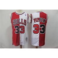 Chicago Bulls 33 Scottie Pippen Two-color double fight Jersey