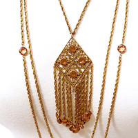 Multi Chain Pendant Necklace Open Work  Fringed Pendant  Gold Tone  Unsigned Goldette  Smokey Topaz  Open Back Crystals  Mod  Vintage 1970's