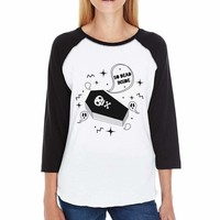 So Dead Inside Coffin Womens Black And White BaseBall Shirt