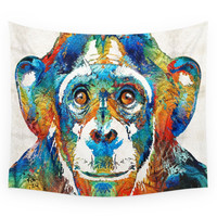 Society6 Colorful Chimp Art Monkey Business By Sh Wall Tapestry