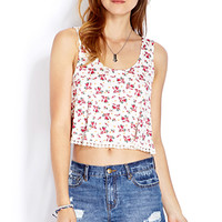 FOREVER 21 Garden Days Flared Crop Top Cream/Pink