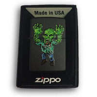 Zippo Custom Lighter - Green Zombie Grabbing - Regular Black Matte 218-CI404185