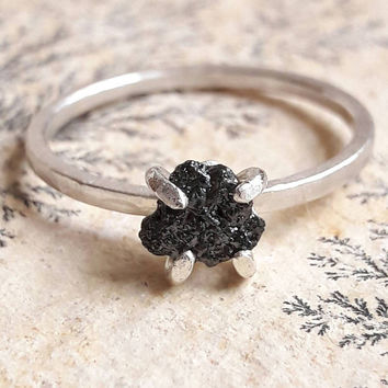 Rough Black Diamond and Sterling Silver Ring - Rough Diamond Ring - Alternative Engagement Ring - Diamond Stacking Ring - Raw Diamond Ring