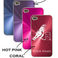 Personalized Aluminum/Metal iPhone 4 4G 4S Case/Cover Barrel Racer Woman, Rodeo, Barrel Racing