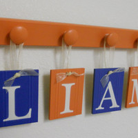 Personalized Children Decor Wooden Letters Includes 4 Peg Hooks and Custom Baby Name LIAM painted Orange and Blue