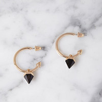 Stud Charm Hoop Earrings