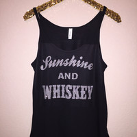 Sunshine and Whiskey  - Glitter - Slouchy Relaxed Fit Tank - Ruffles with Love - Fashion Tee - Graphic Tee