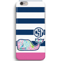 Navy Stripes Personalized Monogram Inspired Lilly Pulitzer And Vineyard Vines iPhone 6 Case, iPhone 5S Case