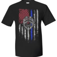 Law Enforcement Patriotic Thin Blue Line With Shield v2