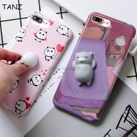 kawaii Squishy Slow Rising Panda Cat Back Hard Phone Cover Case For iphone 6 6S 6plus 6Splus 7 7plus Squeeze Stretchy Toy