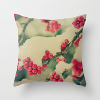 Winter Berry Throw Pillow by Olivia Joy StClaire