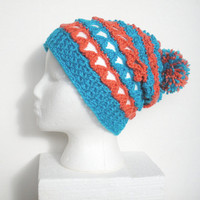 Slouchy Crochet Beanie Hat in Lacy Turquoise and Peach, ready to ship.