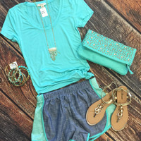 Chambray Terry Side Shorts: Mint
