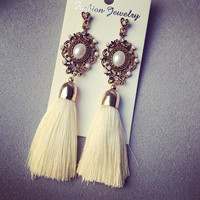 Retro Royal Pearl Long Gem Tassel Earring Rihinestone Yarn Ethnic Wire Fashion Drop Earrings Jewelry Accessory for Women