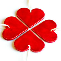 Ceramic Red Hearts Ornaments Minimalist Wedding Favor Love Home Decoration Valentine Gift Set of 4