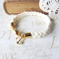 KNOTTY v1 braided nautical rope bracelet with anchor by brideblu
