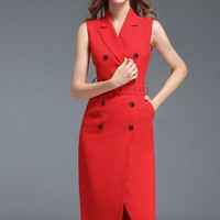 Notched Collar Double Breasted Dress