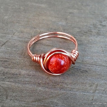 Copper Wire Wrapped Red Coral Ring - Red Sponge Coral Gemstone Bead Wrapped in Copper Wire - Red Stone Boho Hippie Copper Wrap Ring