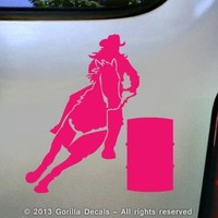 Barrel Racing Vinyl Decal Bumper Sticker Car Laptop Window Trailer Sign PINK