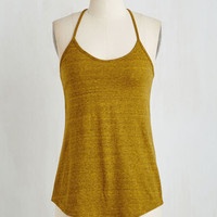 Mid-length Sleeveless Peace and Kayak Top in Curry