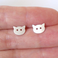 little cat earring studs in sterling silver, handmade in the UK