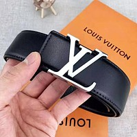 LV Louis Vuitton Fashion New Letter Buckle Leather Women Men Belt Black With Box