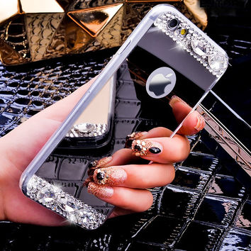 Gold Silver Diamond Bling Crystal TPU Plating Mirror Phone Case For Apple iPhone 6 6s / 6 Plus / 6s plus 5 5S SE Case Back Cover