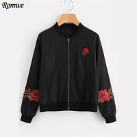ROMWE Embroidery Rose Black Bomber Jacket Women Zip Up Long Sleeve Patch Autumn Coats 2017 Fashion Vintage Stand Collar Jacket