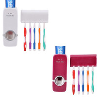 Automatic Toothpaste Dispenser Toothbrush Holder Stand Set Wall Mount Rack Wine Red/ White = 1705565572