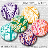 Paint Spatter Digital Collage Sheet 18mm 16mm 14mm 12mm Circle Round on both 4x6 and 8.5x11 Sheets for Earrings Pendants Cuff Links Image