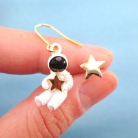 Miniature Astronaut and Star Shaped Enamel Earrings | Space Themed Jewelry