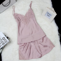 Women Pajamas Sexy Pyjama Set Nightsuit Lace Silk Spaghetti Straps