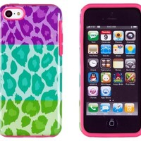 DandyCase 2in1 Hybrid High Impact Hard Tri Color Leopard Pattern + Pink Silicone Case Cover For Apple iPhone 5C + DandyCase Screen Cleaner