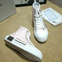 DIOR Fashion High Quality New More Letter Print Leisure High Top Women Shoes Pink